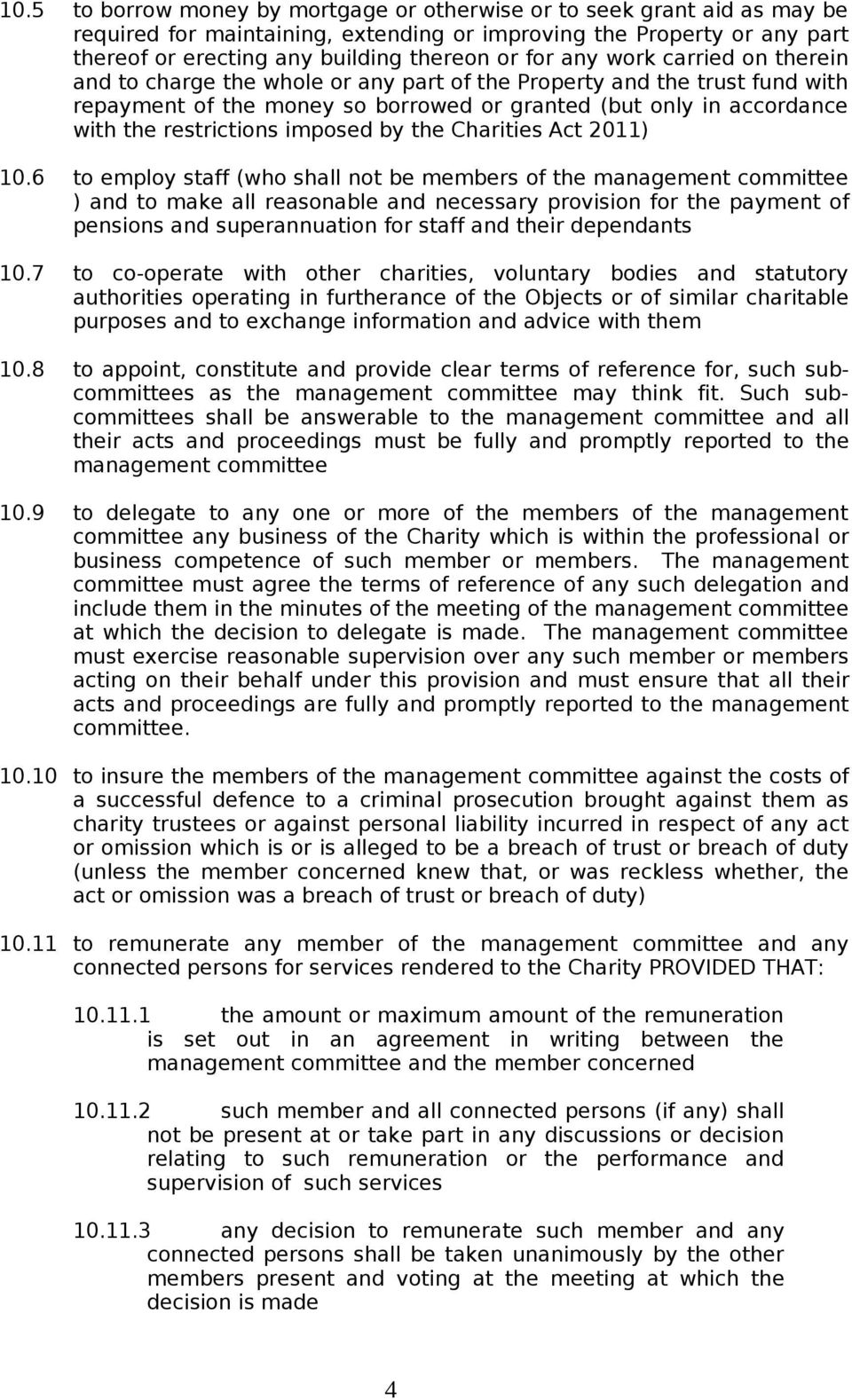 imposed by the Charities Act 2011) 10.