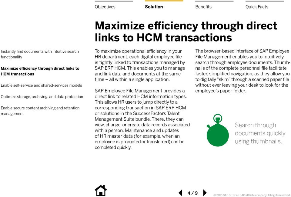 department, each digital employee file is tightly linked to transactions managed by SAP ERP HCM.