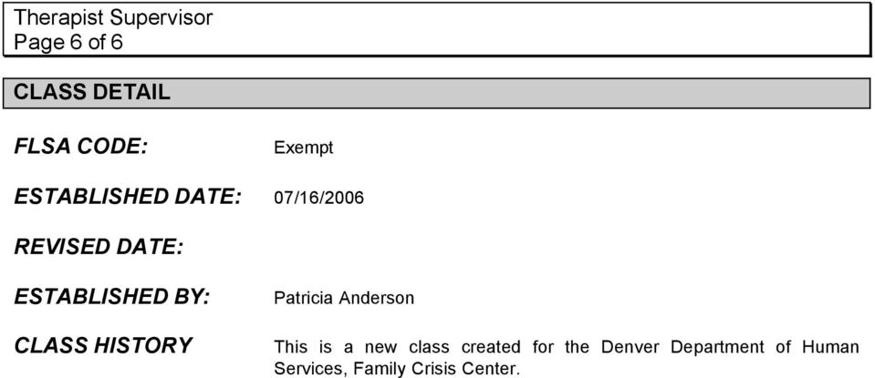 HISTORY Patricia Anderson This is a new class created