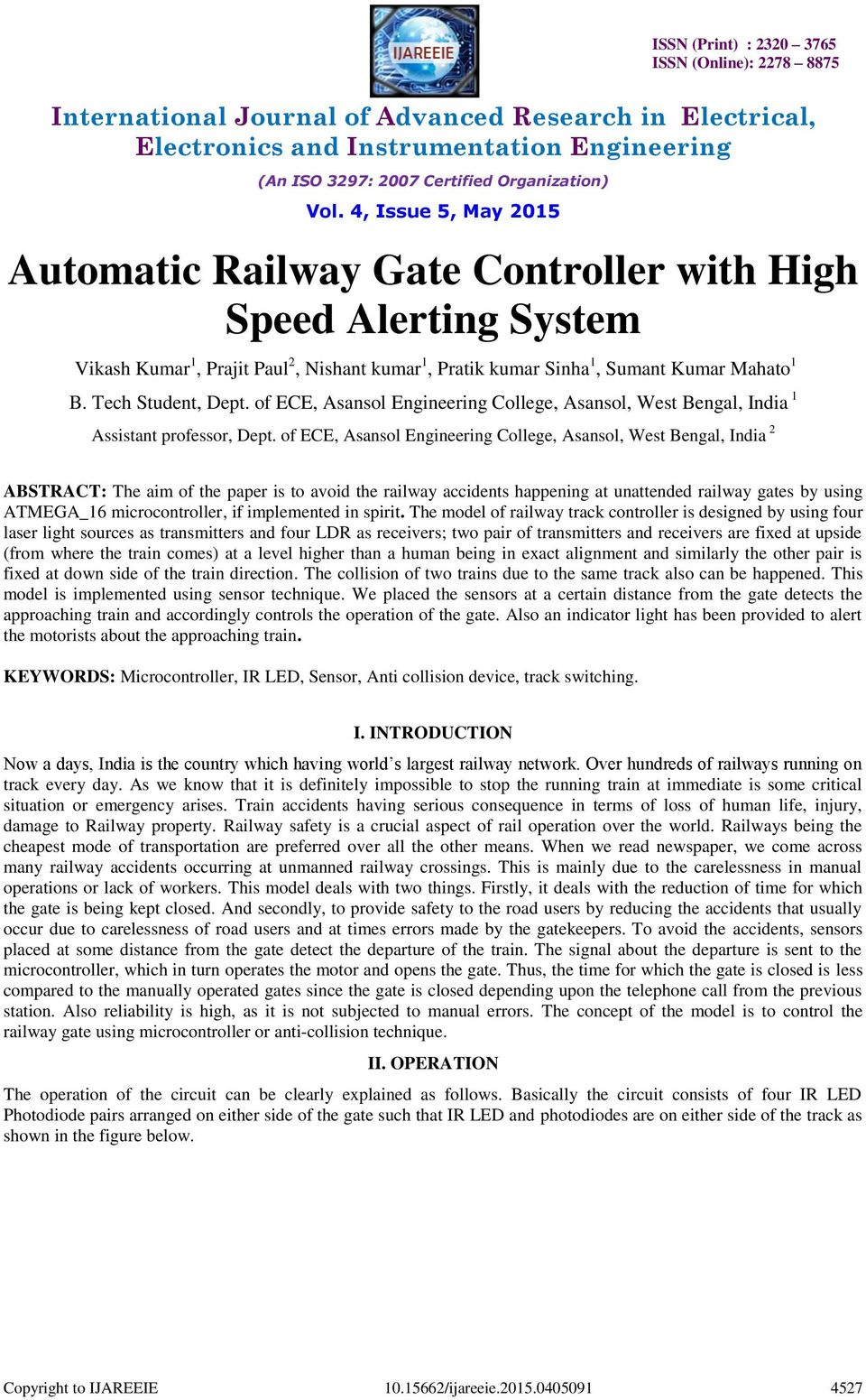 Automatic Railway Gate Controller With High Speed Alerting System Pdf Digital Thermometer Using 8051 Electronic Circuits And Diagram Of Ece Asansol Engineering College West Bengal India 2 Abstract