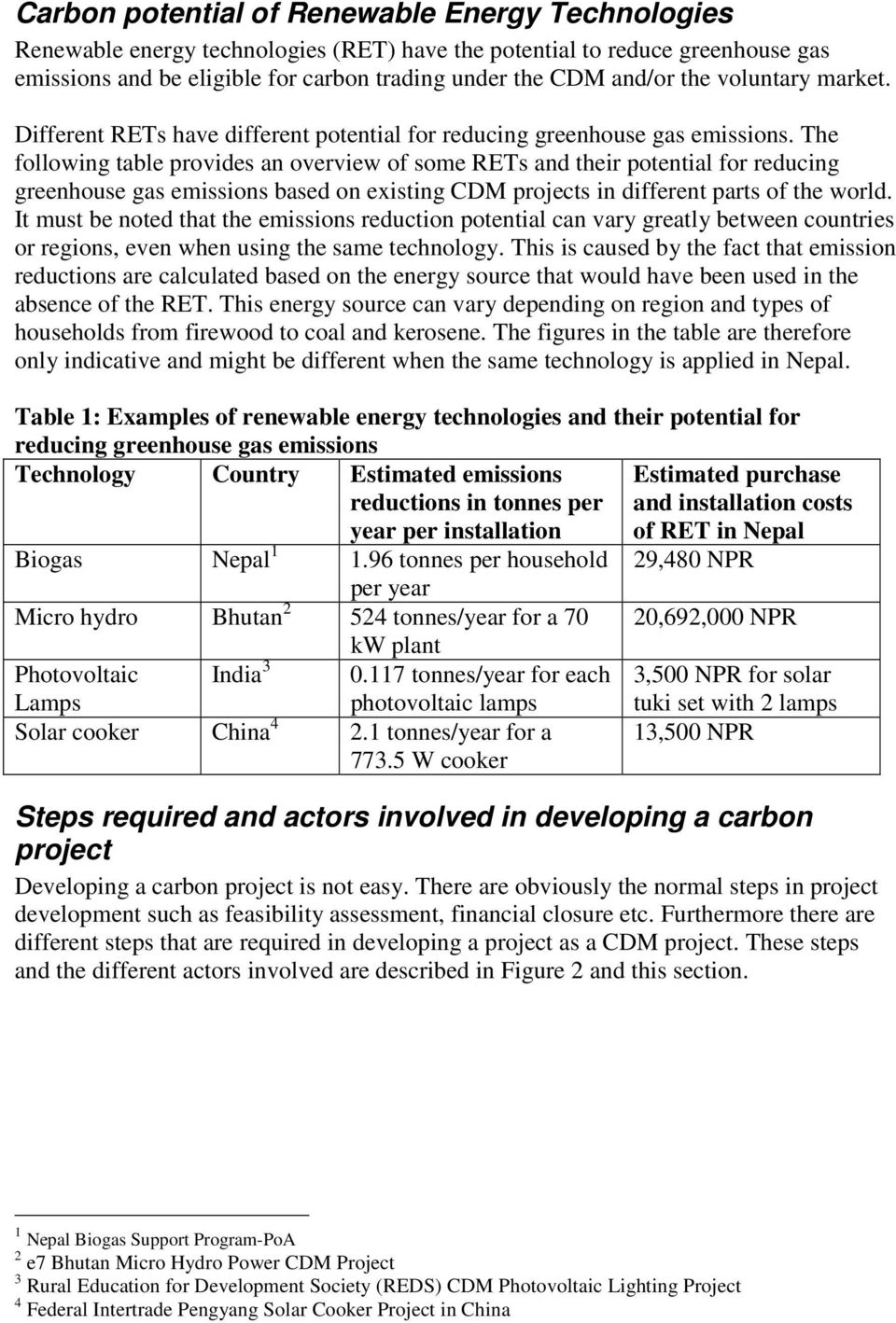 The following table provides an overview of some RETs and their potential for reducing greenhouse gas emissions based on existing CDM projects in different parts of the world.