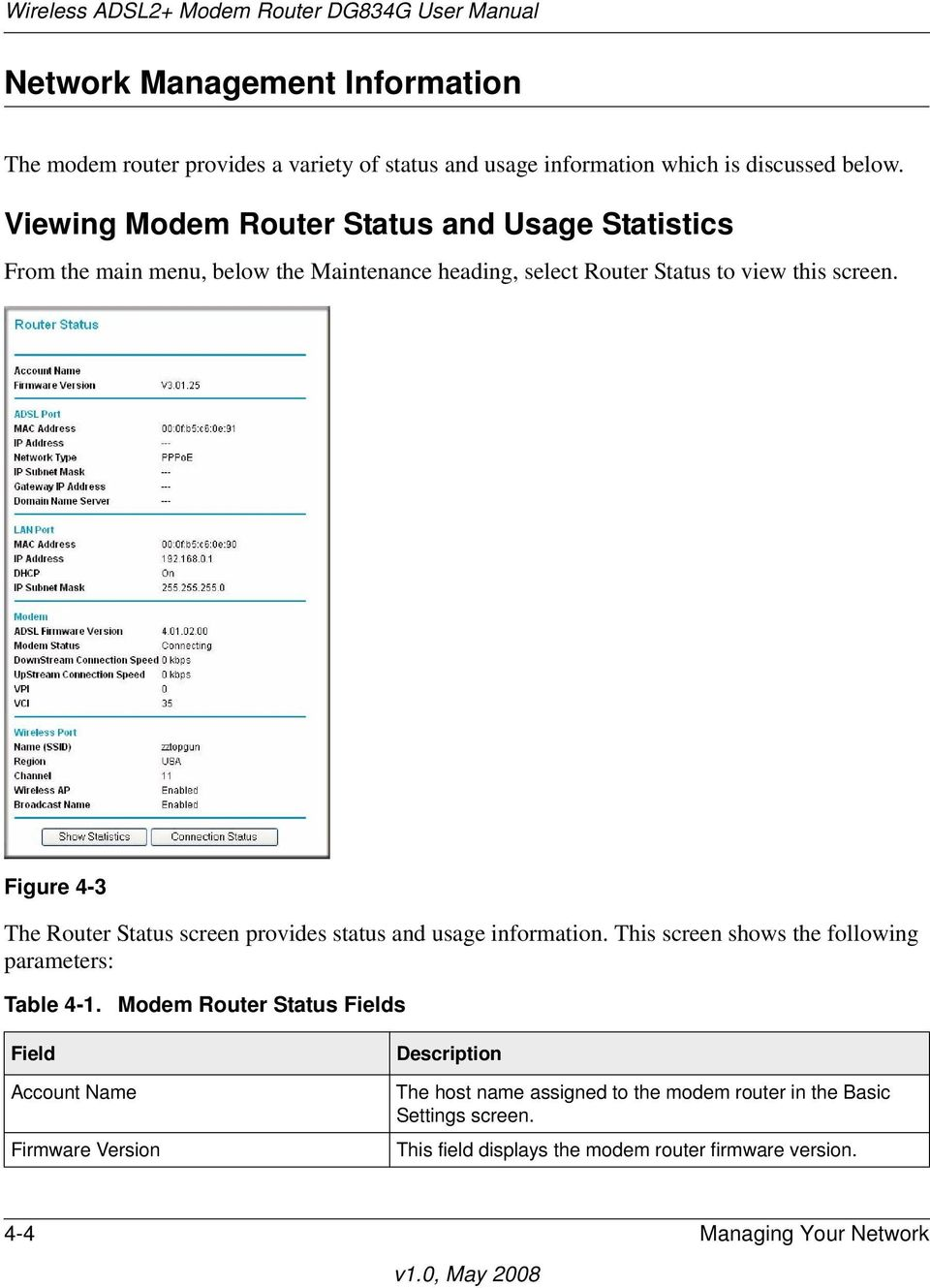 Figure 4-3 The Router Status screen provides status and usage information. This screen shows the following parameters: Table 4-1.