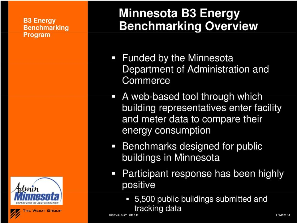 compare their energy consumption Benchmarks designed for public buildings in Minnesota Participant