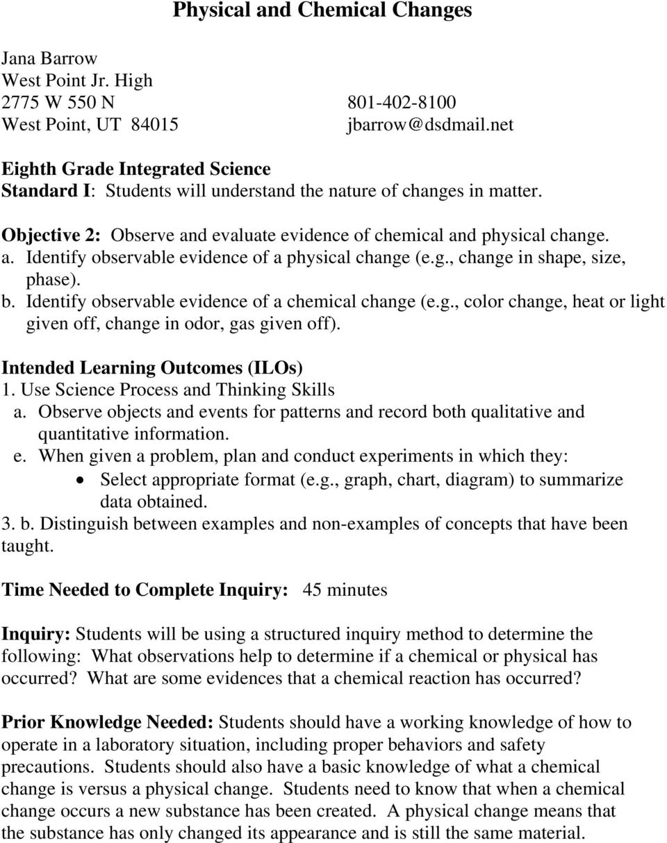 Physical and Chemical Changes - PDF