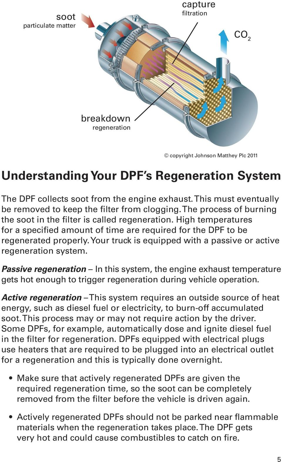 High temperatures for a specified amount of time are required for the DPF to be regenerated properly. Your truck is equipped with a passive or active regeneration system.