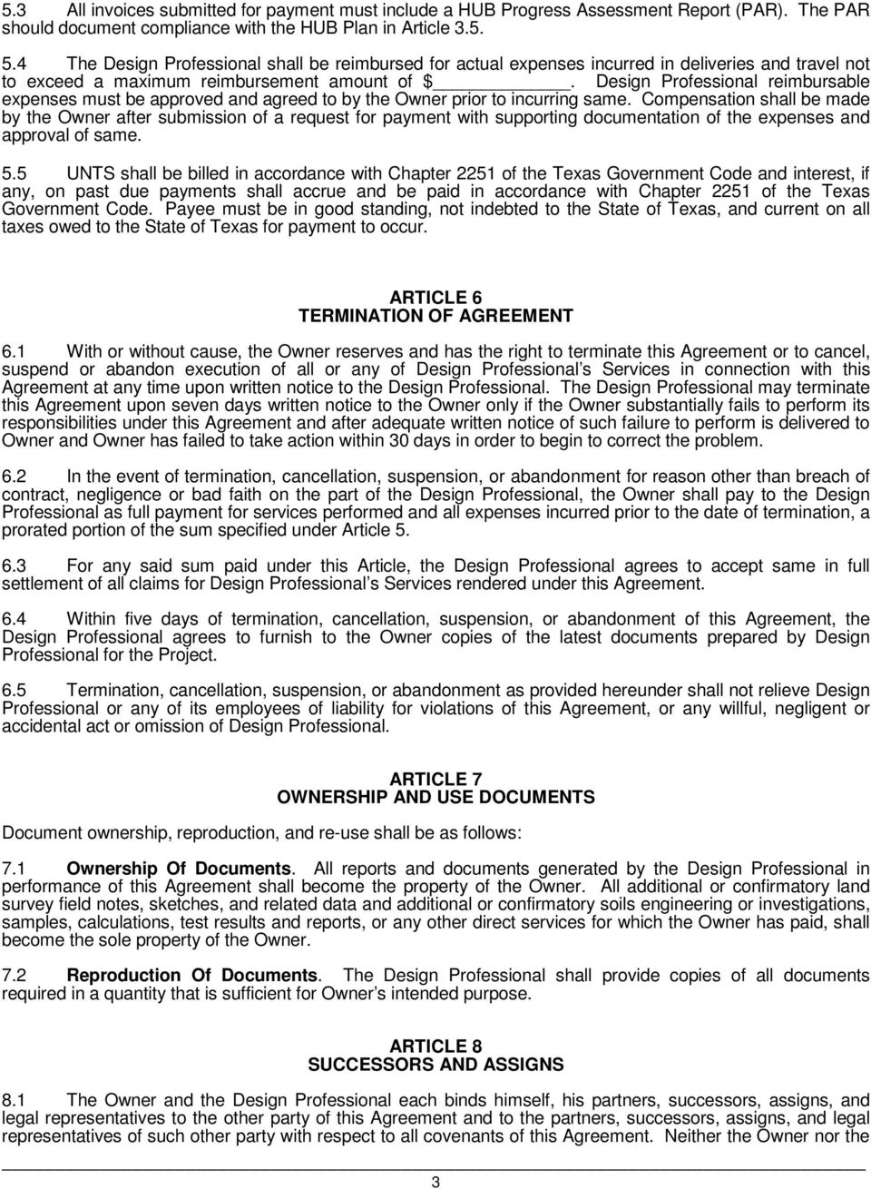 Professional Services Agreement Between University Of North Texas