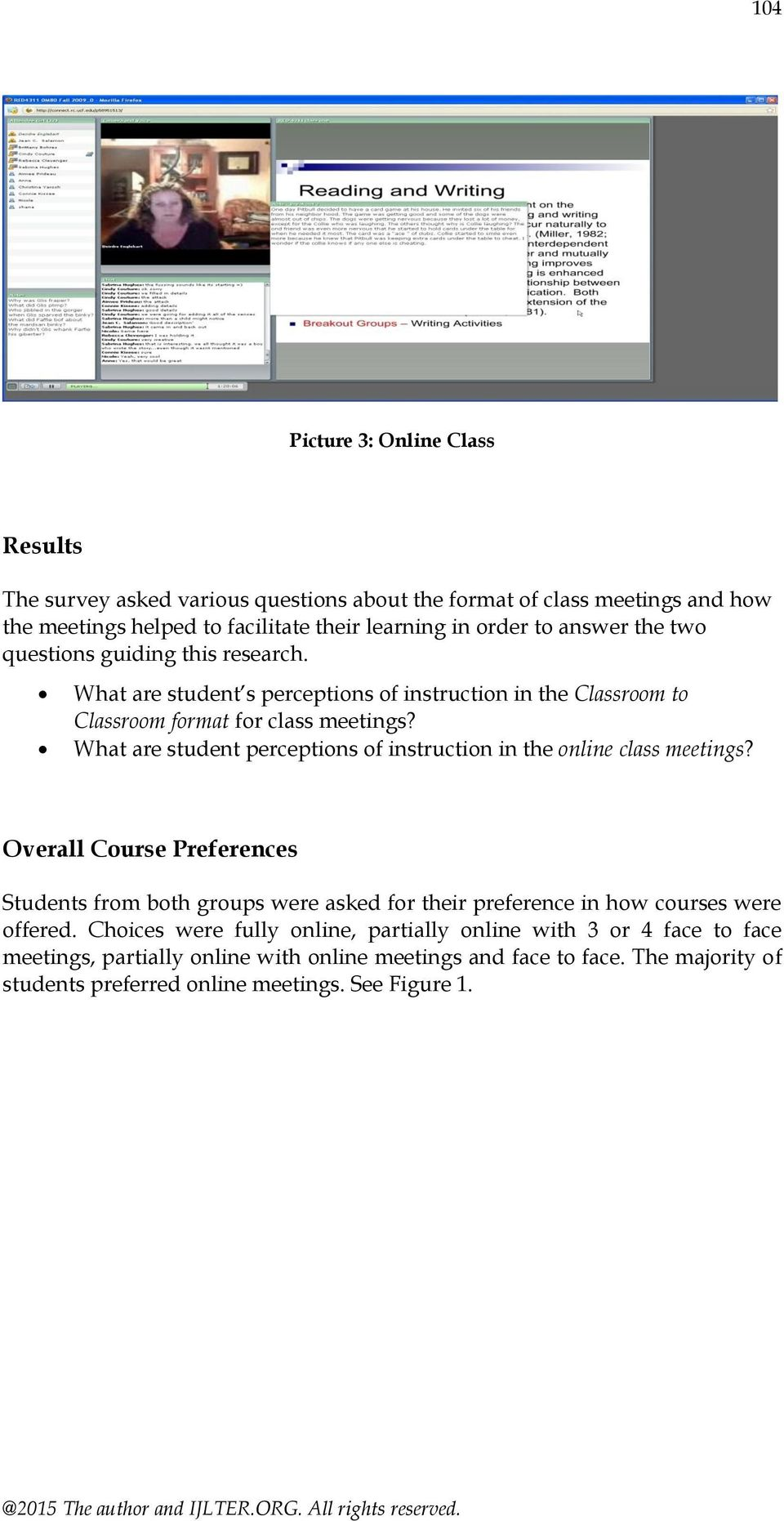 What are student perceptions of instruction in the online class meetings?