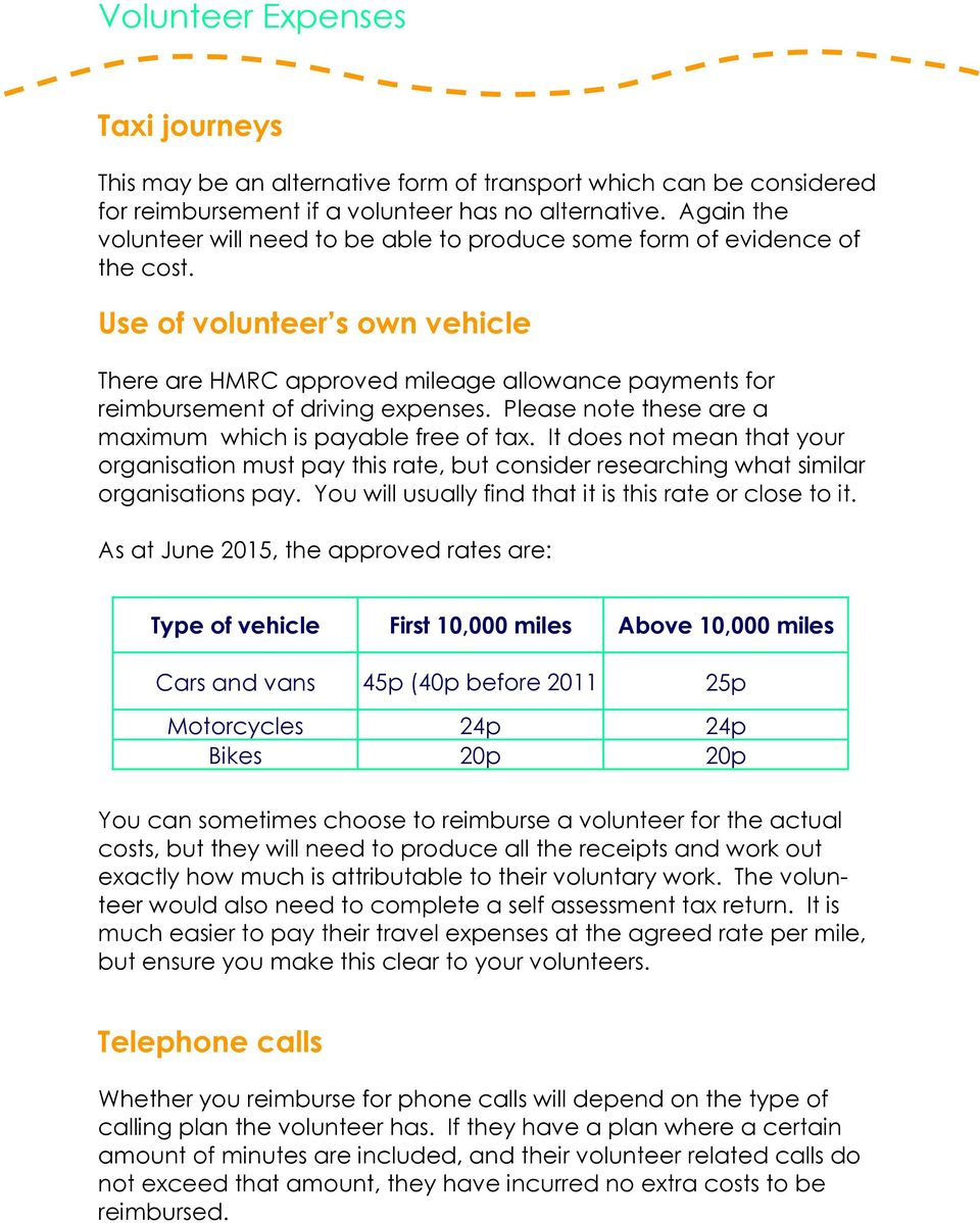 Use of volunteer s own vehicle There are HMRC approved mileage allowance payments for reimbursement of driving expenses. Please note these are a maximum which is payable free of tax.