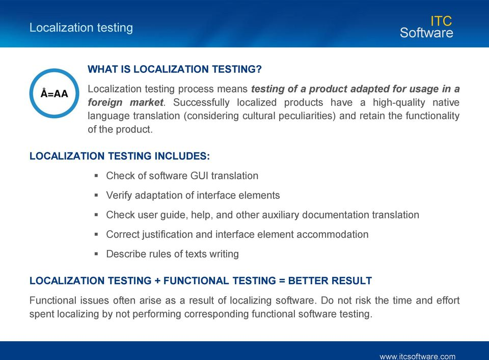 LOCALIZATION TESTING INCLUDES: Check of software GUI translation Verify adaptation of interface elements Check user guide, help, and other auxiliary documentation translation Correct justification