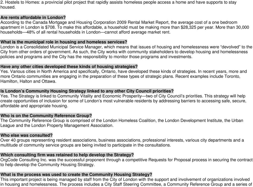 London Community Housing Strategy (LCHS) Questions and