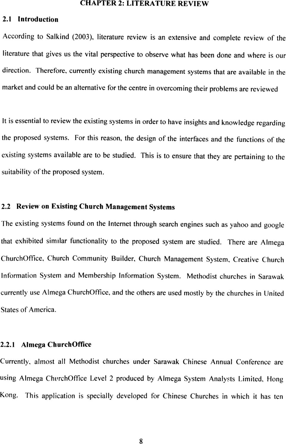 church management system literature review