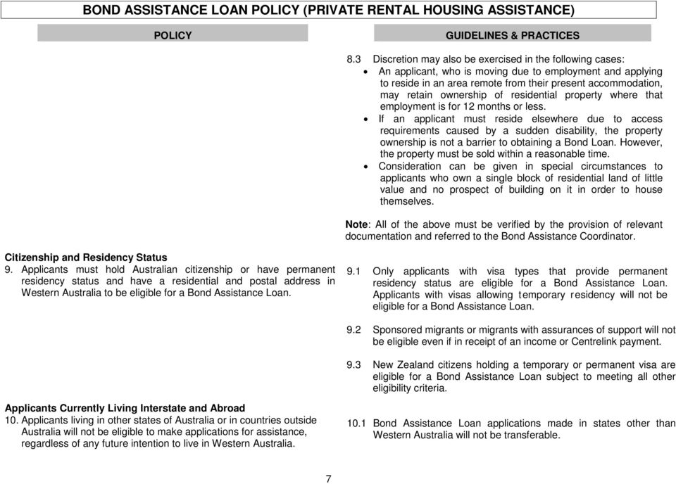 HOUSING AUTHORITY BOND ASSISTANCE LOAN POLICY - PDF