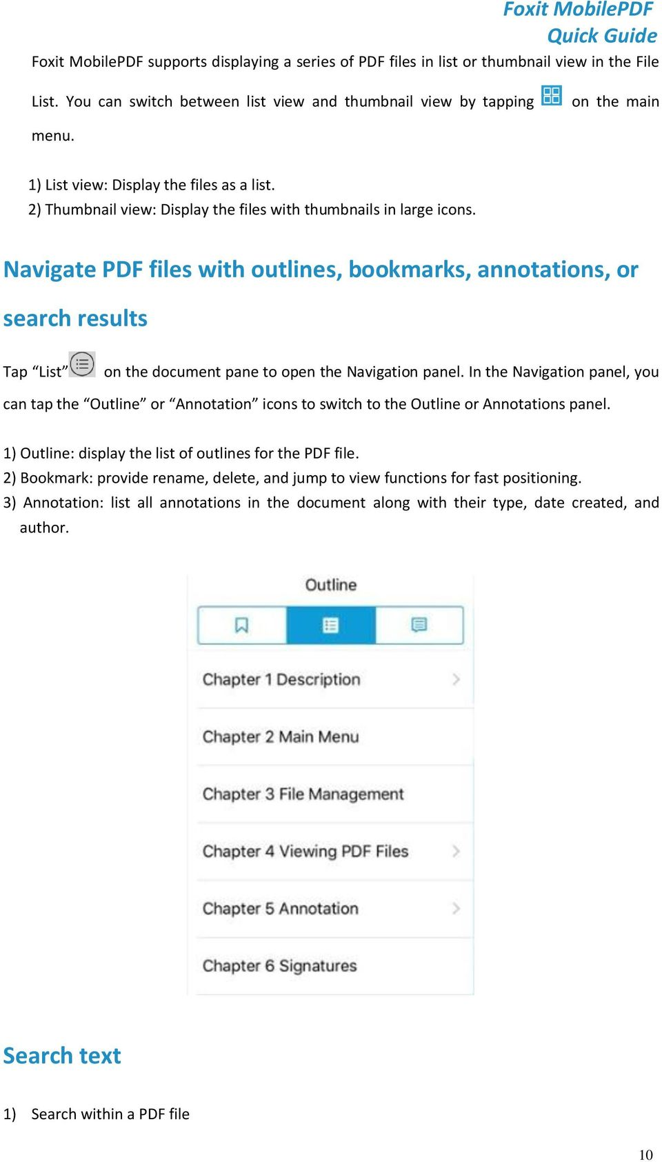 Navigate PDF files with outlines, bookmarks, annotations, or search results Tap List on the document pane to open the Navigation panel.
