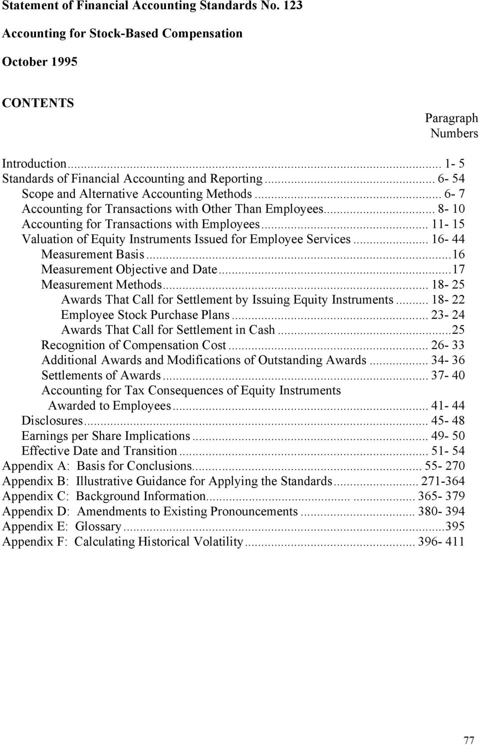 .. 11-15 Valuation of Equity Instruments Issued for Employee Services... 16-44 Measurement Basis...16 Measurement Objective and Date...17 Measurement Methods.