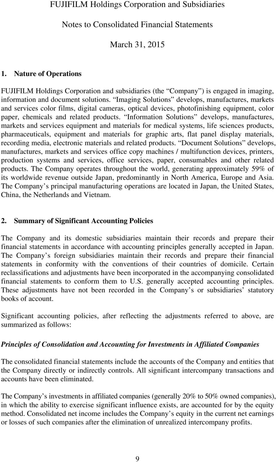 Consolidated Financial Statements  FUJIFILM Holdings