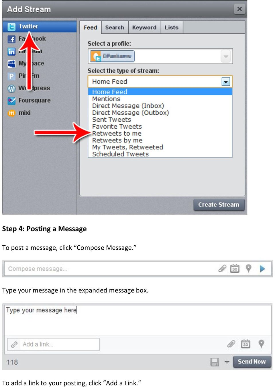 Type your message in the expanded