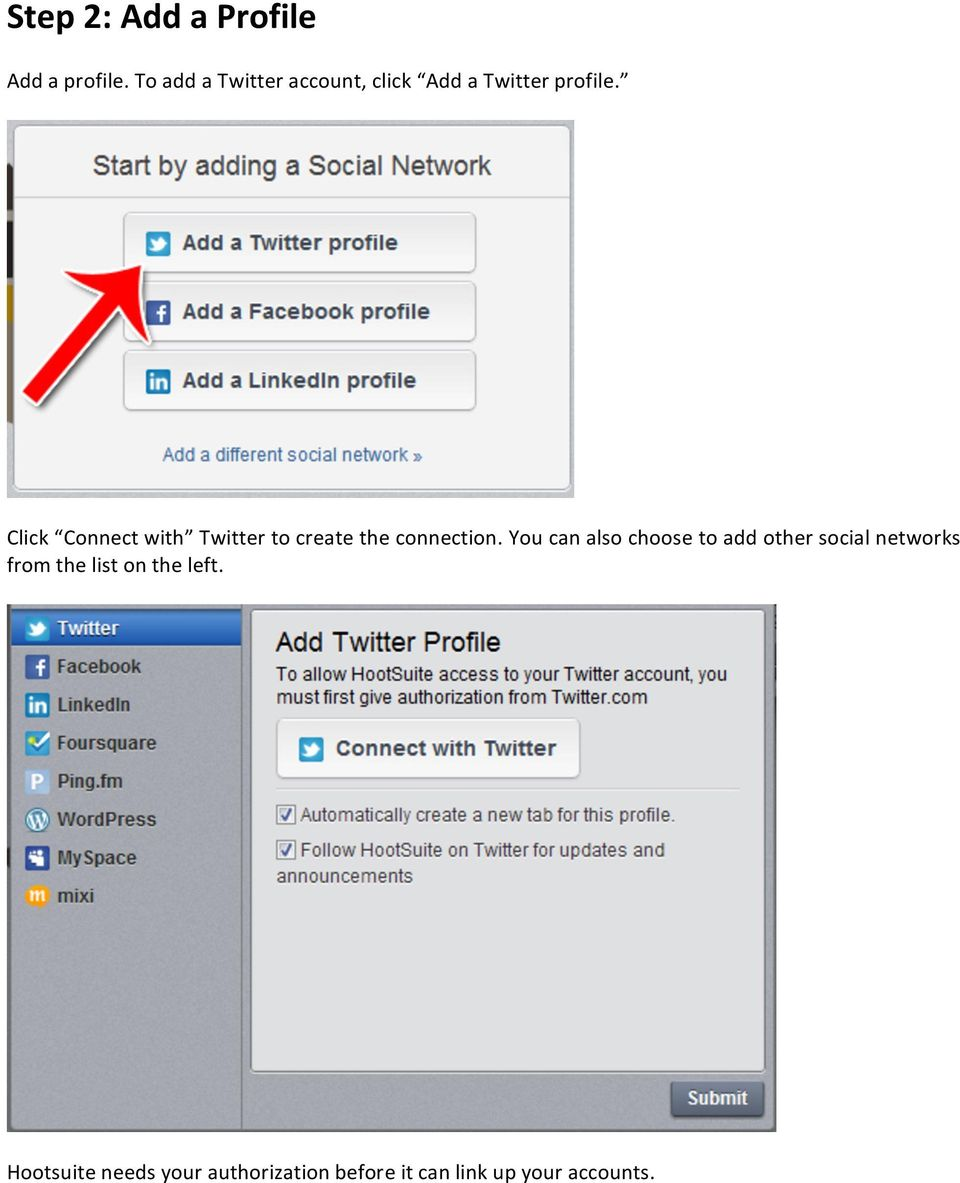 Click Connect with Twitter to create the connection.