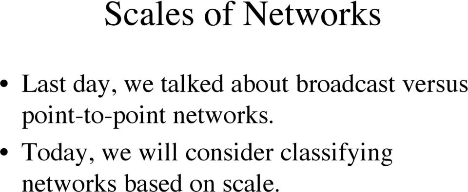 point-to-point networks.