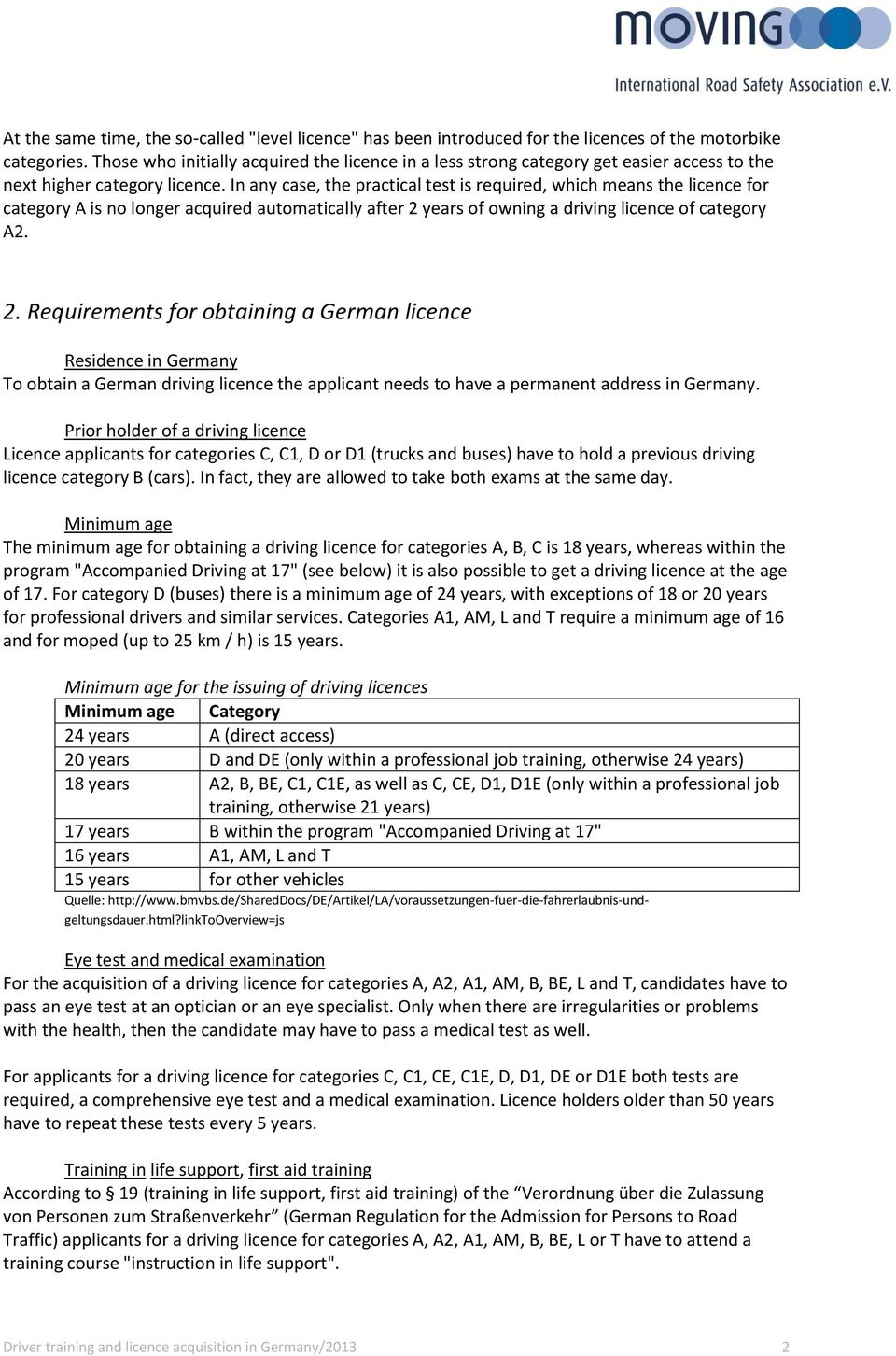 Driver training and licence acquisition in Germany - PDF