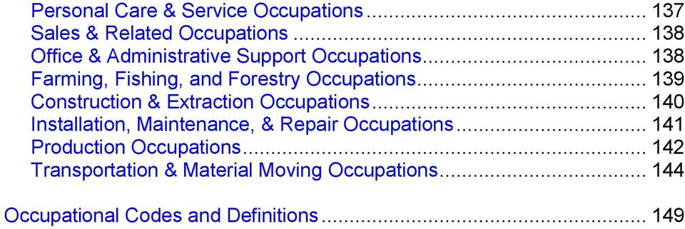 .. 139 Construction & Extraction Occupations... 140 Installation, Maintenance, & Repair Occupations.