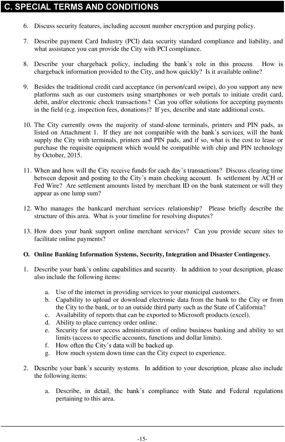 notice requesting proposals for bank and merchant services - pdf