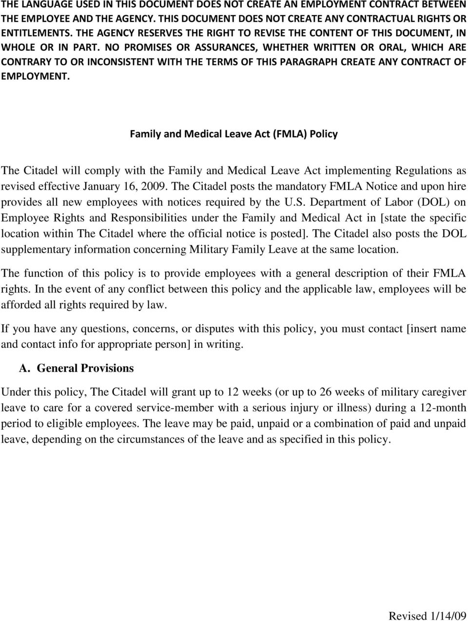 comply with the Family and Medical Leave Act implementing Regulations as revised effective January 16, 2009.