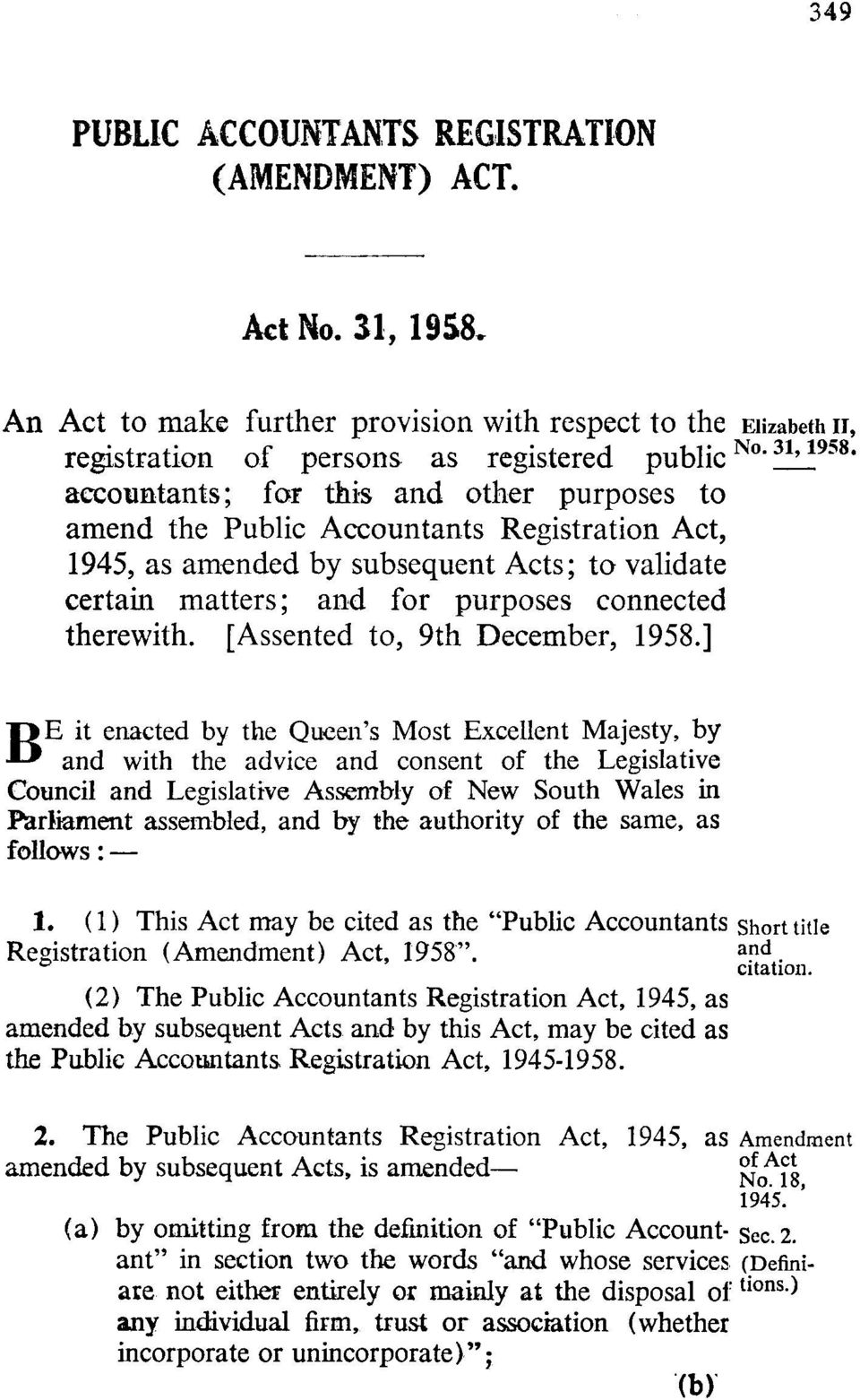 amended by subsequent Acts; to validate certain matters; and for purposes connected therewith. [Assented to, 9th December, 1958.