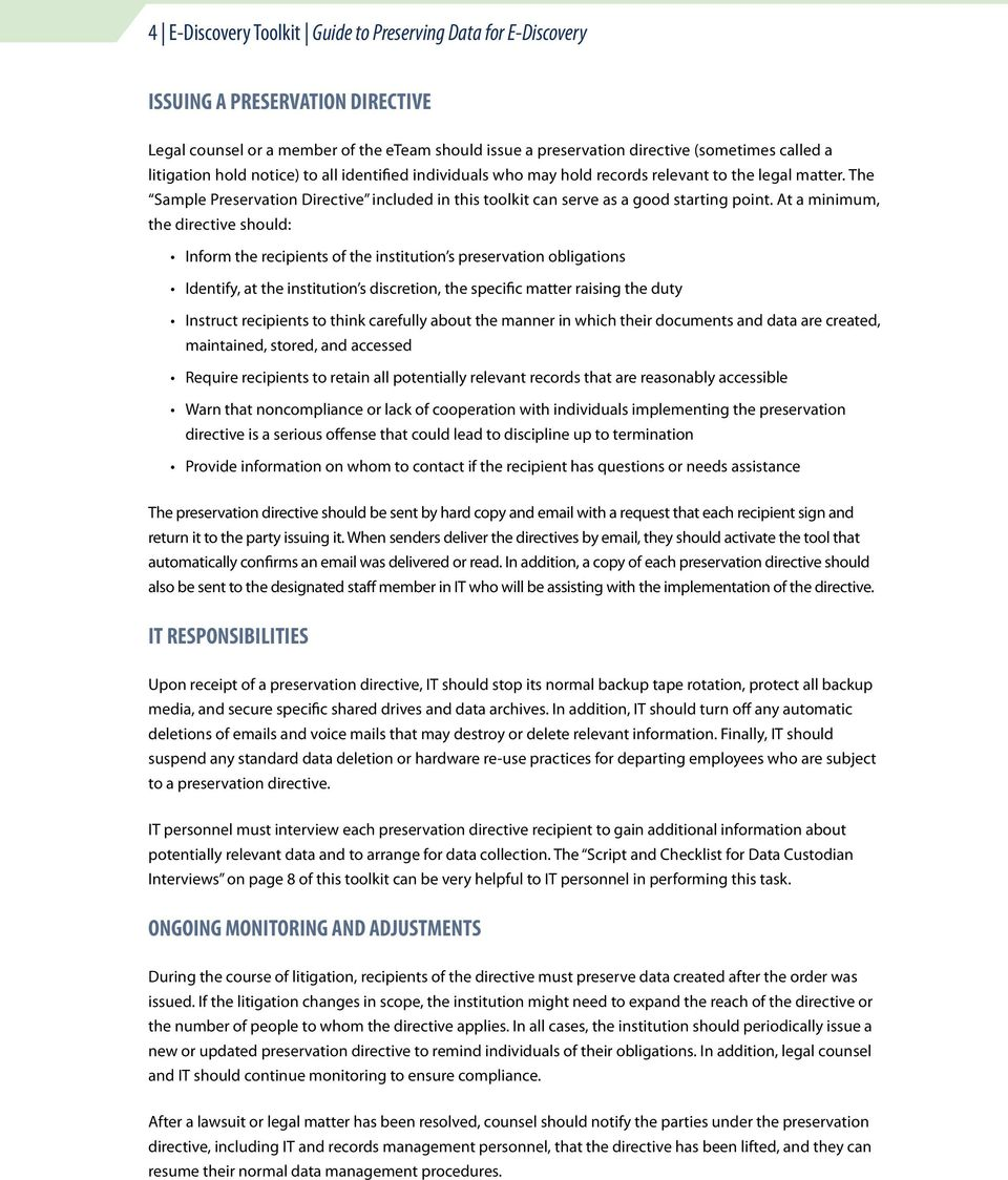 Litigation Hold Letter Sample.E Discovery Toolkit For Educational Institutions Pdf