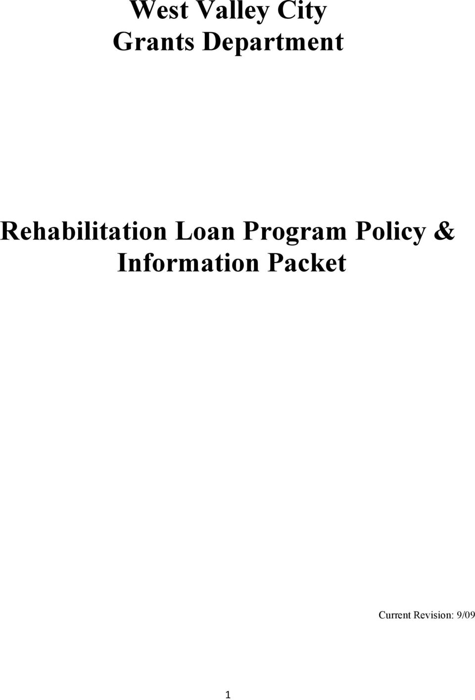 Loan Program Policy &