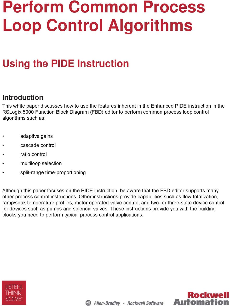 Perform common process loop control algorithms pdf this paper focuses on the pide instruction be aware that the fbd editor supports many ccuart Choice Image