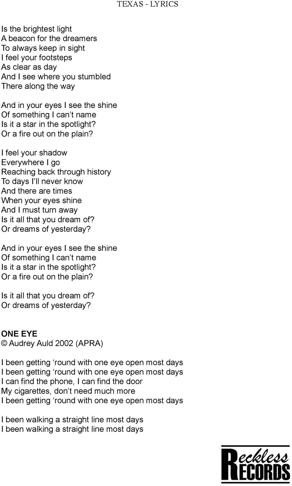 TEXAS - LYRICS  LOVE YOU LIKE THE EARTH Audrey Auld 2003
