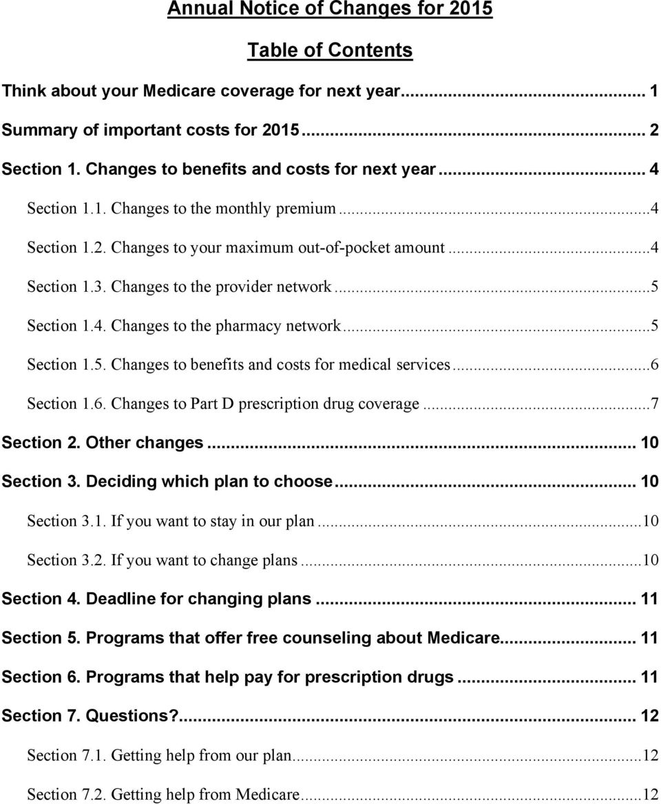 Changes to the provider network...5 Section 1.4. Changes to the pharmacy network...5 Section 1.5. Changes to benefits and costs for medical services...6 Section 1.6. Changes to Part D prescription drug coverage.