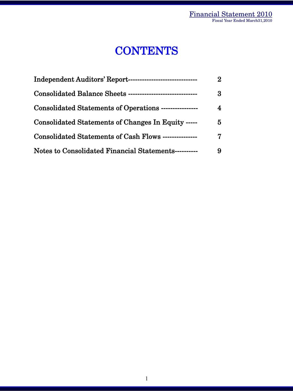 ---------------- 4 Consolidated Statements of Changes In Equity ----- 5 Consolidated