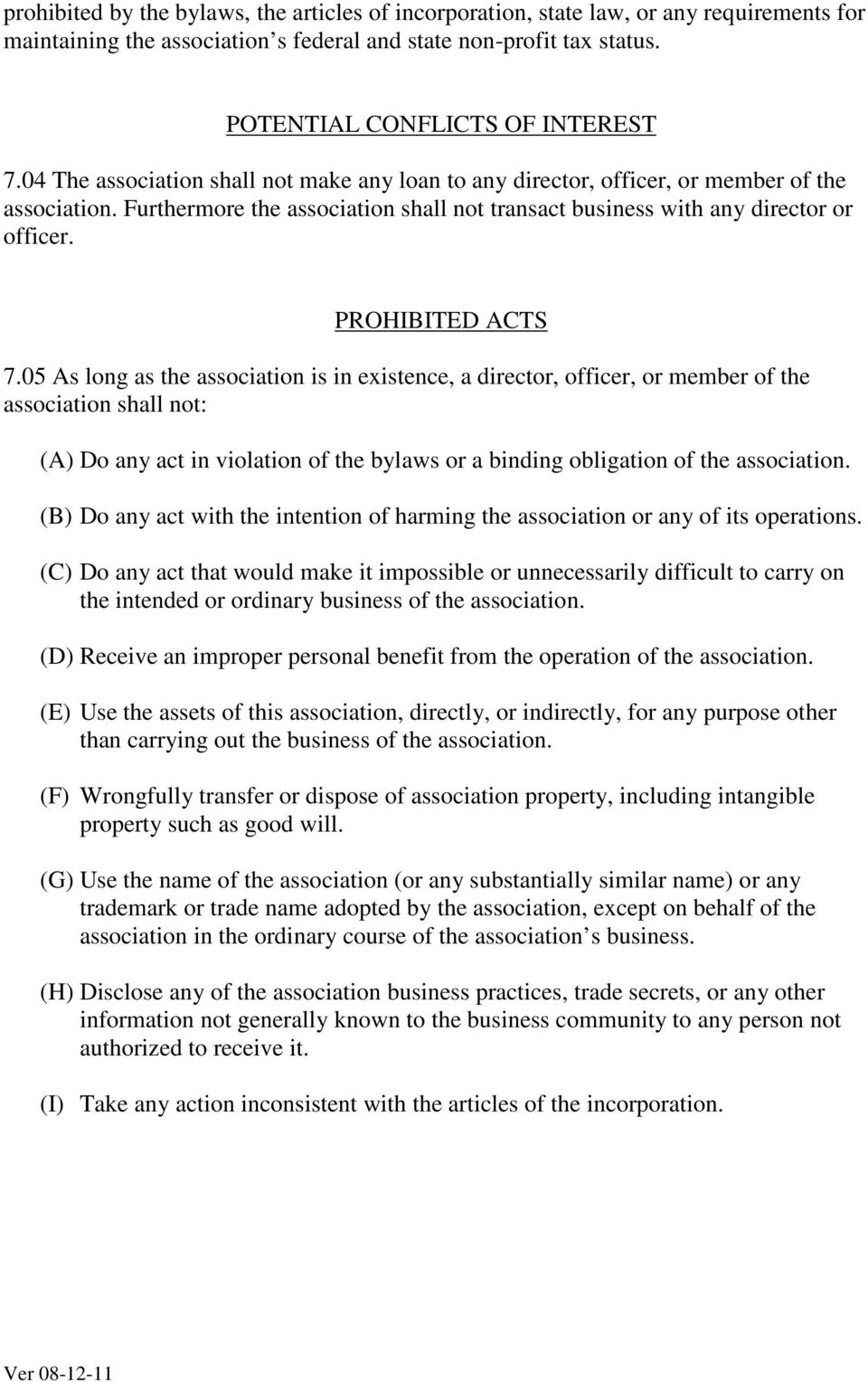 PROHIBITED ACTS 7.