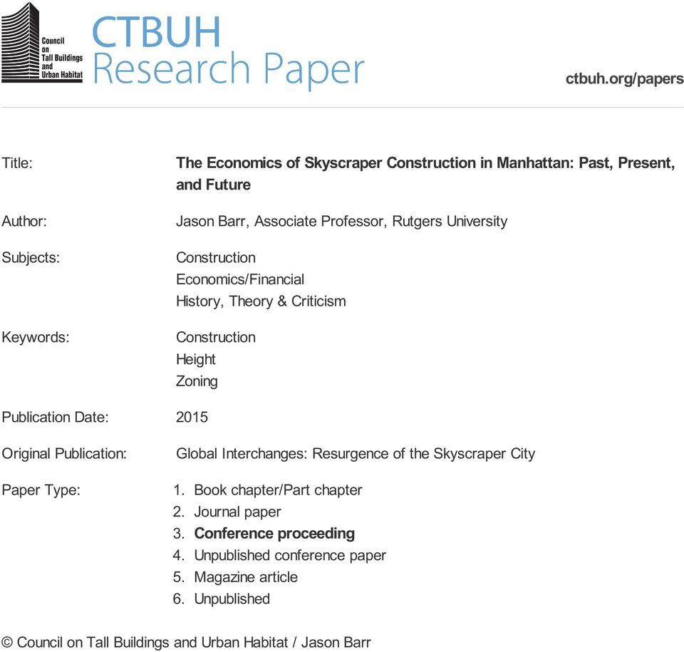 ctbuh org/papers The Economics of Skyscraper Construction in