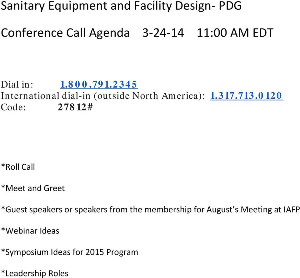 Sanitary Equipment and Facility Design- PDG  Conference Call