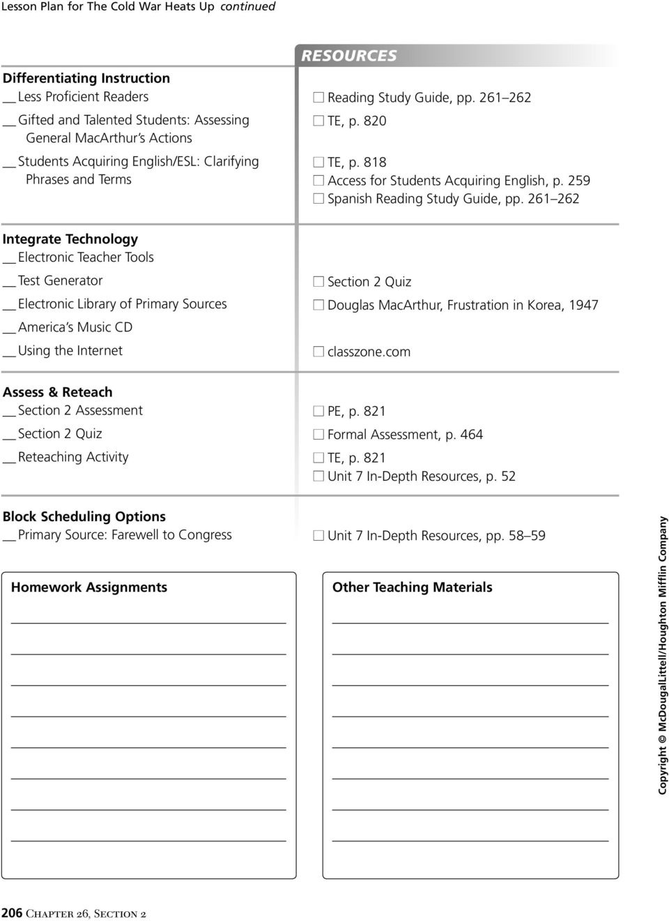261 262 Integrate Technology Electronic Teacher Tools Test Generator  Electronic Library of Primary Sources America s. 7 Name Date 26 CHAPTER ...