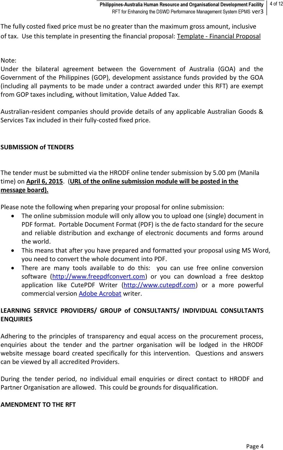Request for Tender (RFT) - PDF