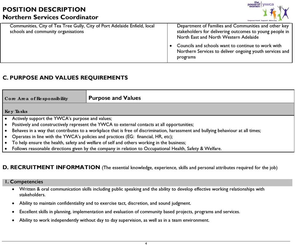 PURPOSE AND VALUES REQUIREMENTS Core Area of Responsibility Purpose and Values Key Tasks Actively support the YWCA s purpose and values; Positively and constructively represent the YWCA to external