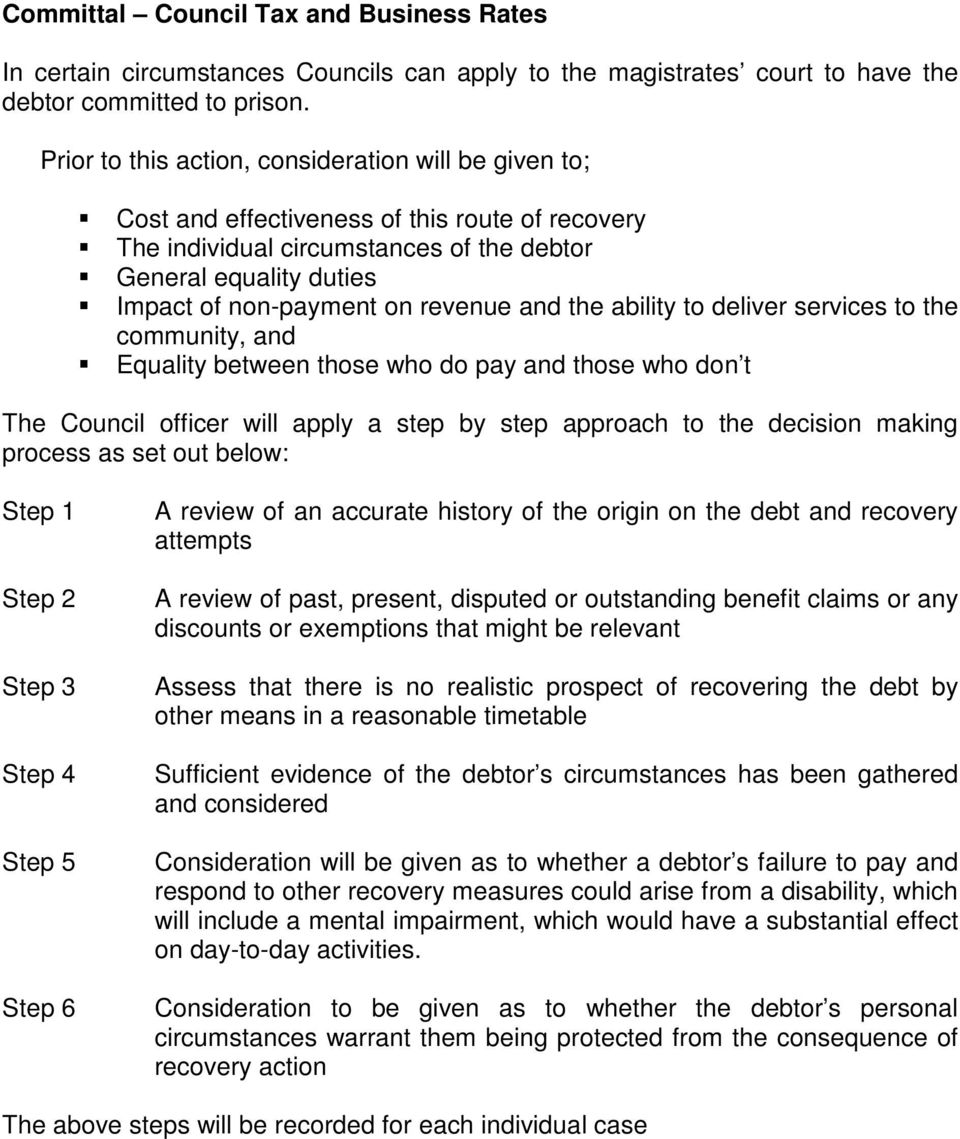 revenue and the ability to deliver services to the community, and Equality between those who do pay and those who don t The Council officer will apply a step by step approach to the decision making