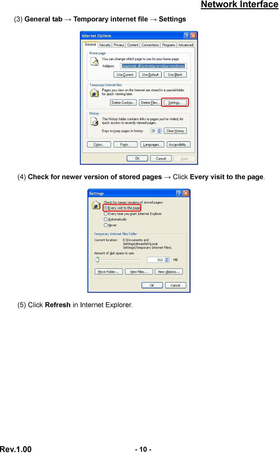 stored pages Click Every visit to the page.