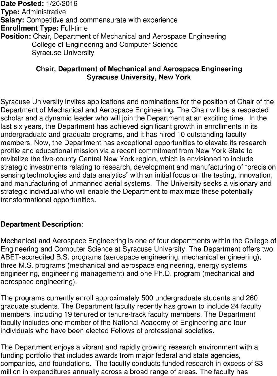 nominations for the position of Chair of the Department of Mechanical and Aerospace Engineering.