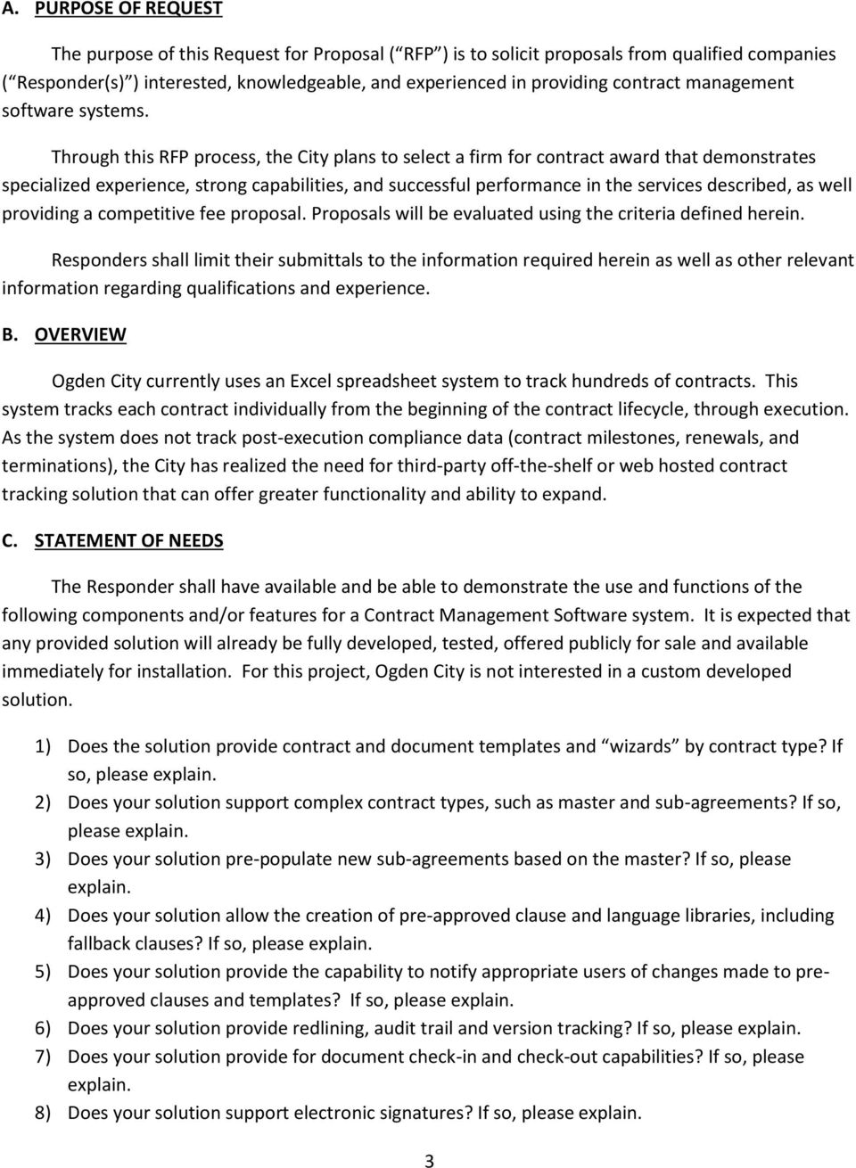 Request for Proposal  Contract Management Software - PDF