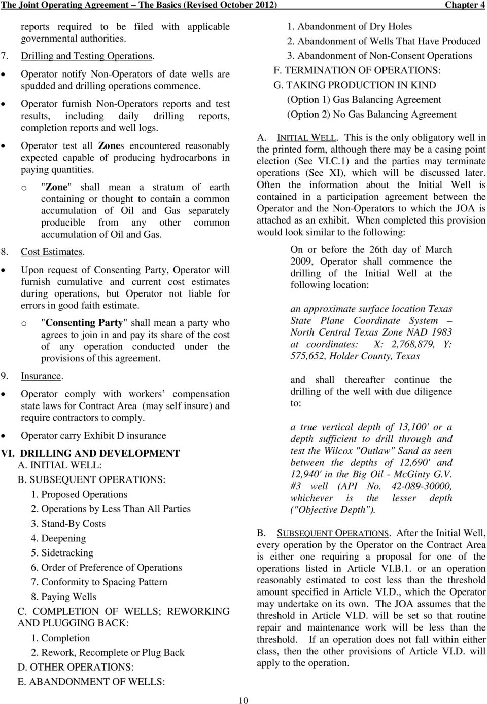 The Joint Operating Agreement The Basics Revised October 2012 Pdf