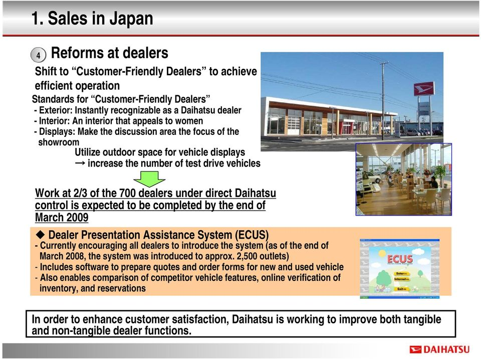 vehicles Work at 2/3 of the 700 dealers under direct Daihatsu control is expected to be completed by the end of March 2009 Dealer Presentation Assistance System (ECUS) - Currently encouraging all