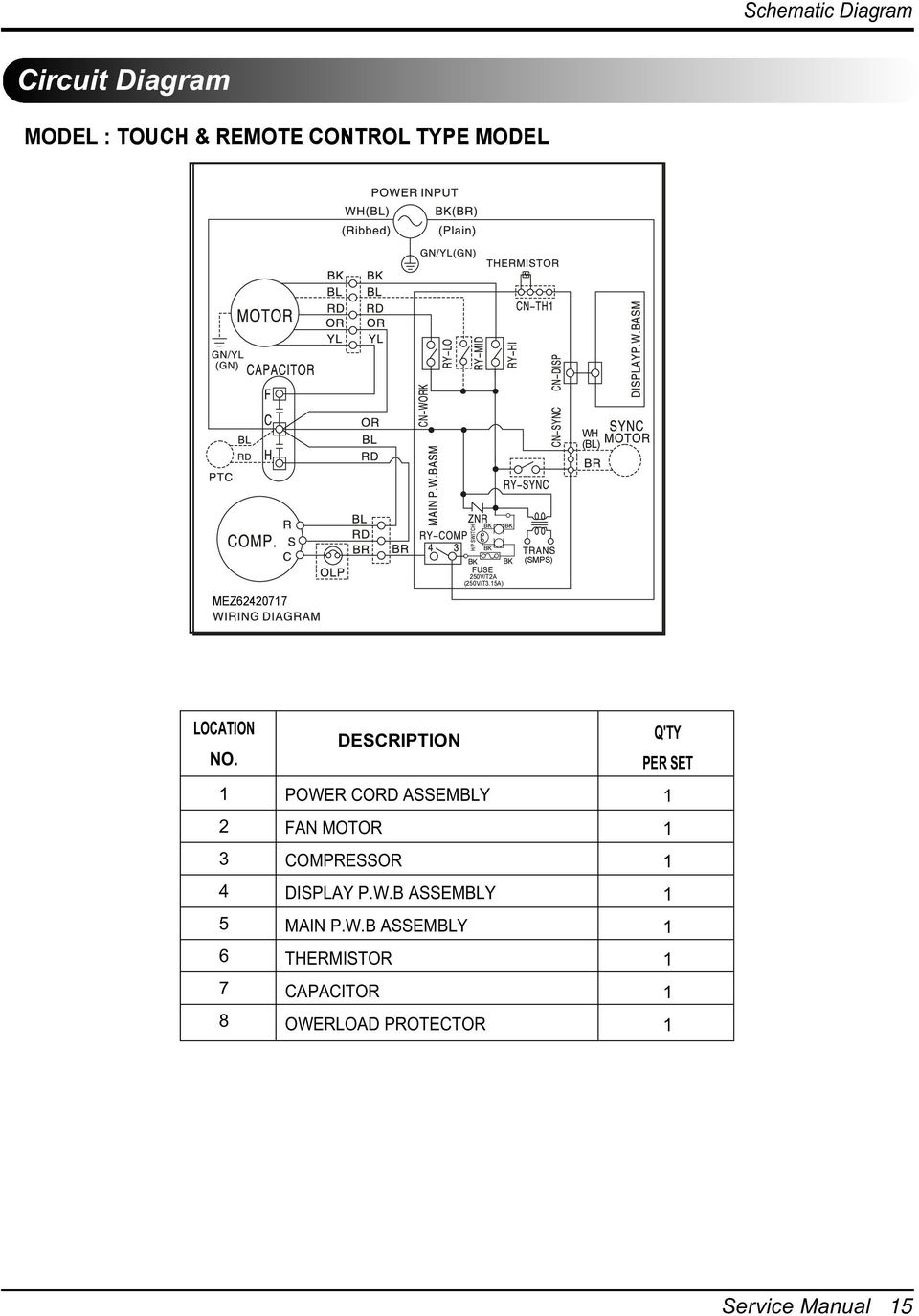 Room Air Conditioner Service And Parts Manual Pdf Oscillating Fan Wire Diagram 3 1 2 4 5 6 7 8 Description Power Cord Assembly Motor Compressor Display