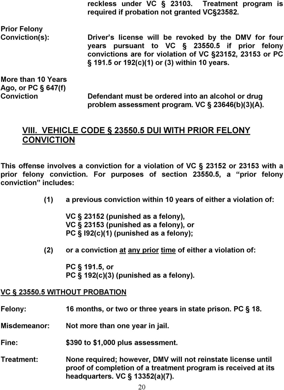 5 if prior felony convictions are for violation of VC 23152, 23153 or PC 191.5 or 192(c)(1) or (3) within 10 years. Defendant must be ordered into an alcohol or drug problem assessment program.