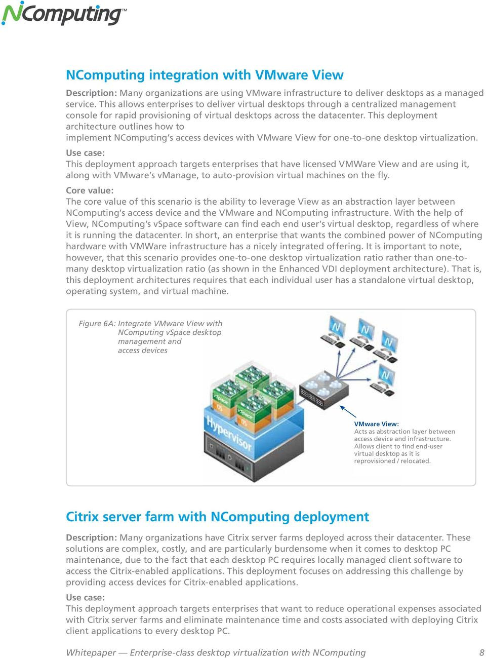 This deployment architecture outlines how to implement NComputing s access devices with VMware View for one-to-one desktop virtualization.