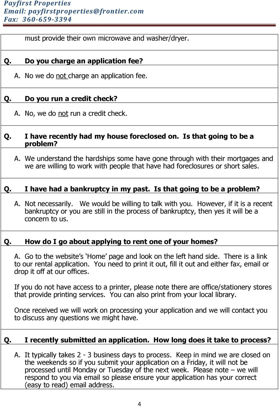 Frequently Asked Questions Pdf And Then We Get To Our Homes Offices I Have Had A Bankruptcy In My Past Is That Going Be Problem