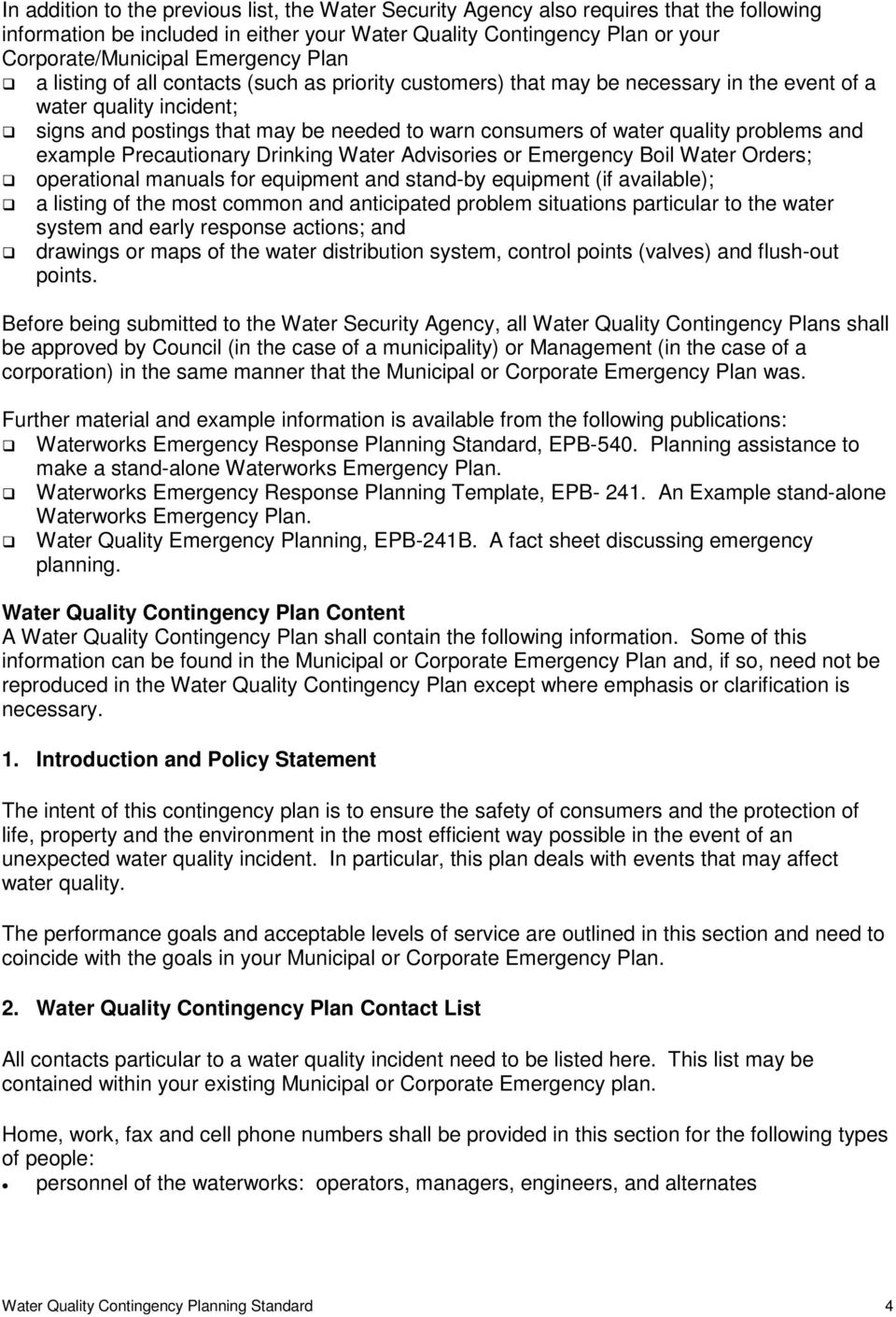 contingency planning policy statement sample